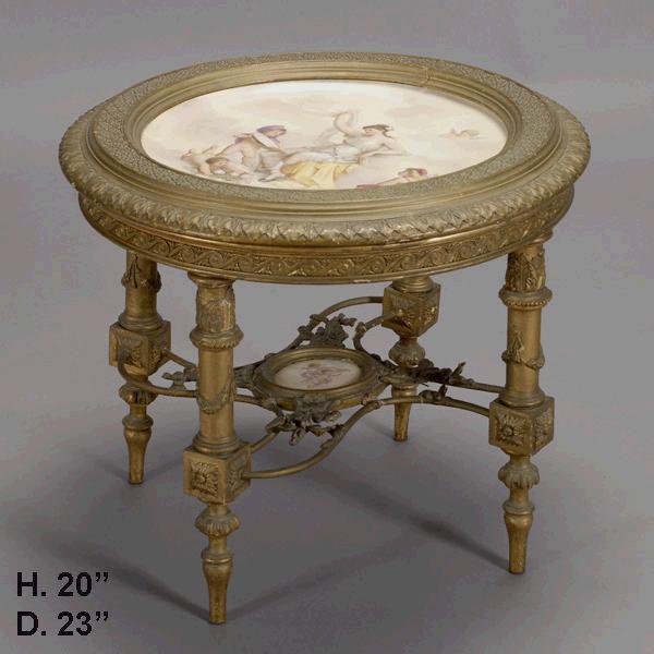 19c. Napoleon III Style Porcelain and Giltwood Two Tier Table