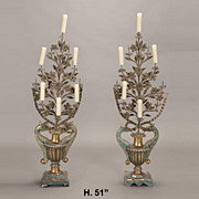 Pair Baroque Style Tole Bouquet Form Candelabras First Half of 20th Century