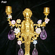 Pair 19c. French Ormolu and Amethyst Quartz 2 light Figural Sconces