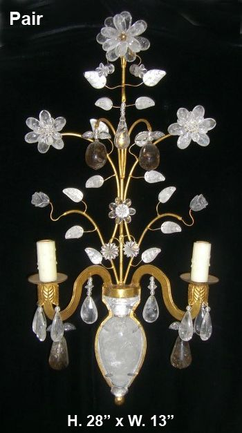 Set of Four Bagues Style Rock Crystal and Smokey Quartz 2 Light sconces