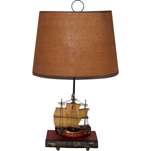 LAMP Fantastic Midcentury Holland Sailing Ship and Book