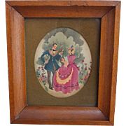1937 Romantic Courting Matted Framed Color Print