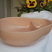Large Mid Century Pfaltzgraff Keystone USA Pink Speckled Pear Shaped Serving Bowl