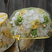Vintage Hat Box with 50's 60's Mr. Charles Doris Day Style Yellow White Green Tulle Bubble Hat