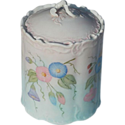 Vintage Morning Glory Painted Vanity Canister