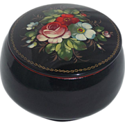 Estate Find Russian Black Lacquer Floral Signed Hand Painted Metal Vanity Trinket Box