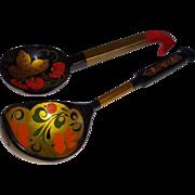 Vintage Russian Khokhloma Handpainted Decorative Spoons