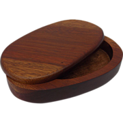 Handsome Swivel Lid Wood Cloth Lined Trinket Box