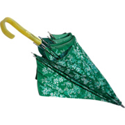 Pearl Yellow Lucite J Handle Green Flowered Umbrella Circa 1940