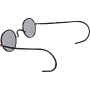 NICE! Windsor Brown Black Celluloid Wrapped Metal Frame Eyeglasses with Flexible Spring WrapTemple Ends and Metal Brown Felt Lined Case