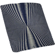 Signed 'Symphony Tangents' Silk Square Navy Blue and White Sheer Vintage Scarf