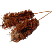 Gorgeous Pair of Vintage Natural Red Feather Duster