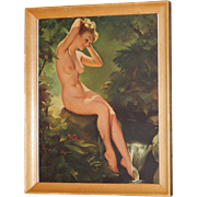 Original 1955 Gil Elvgren Tintogravure Nude Pin Up Calendar Print by Brown & Bigelow