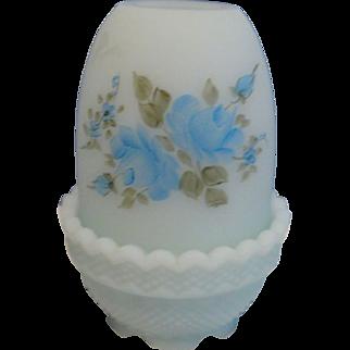 SALE Fenton Handpainted, signed Blue Satin Glass Fairy Light