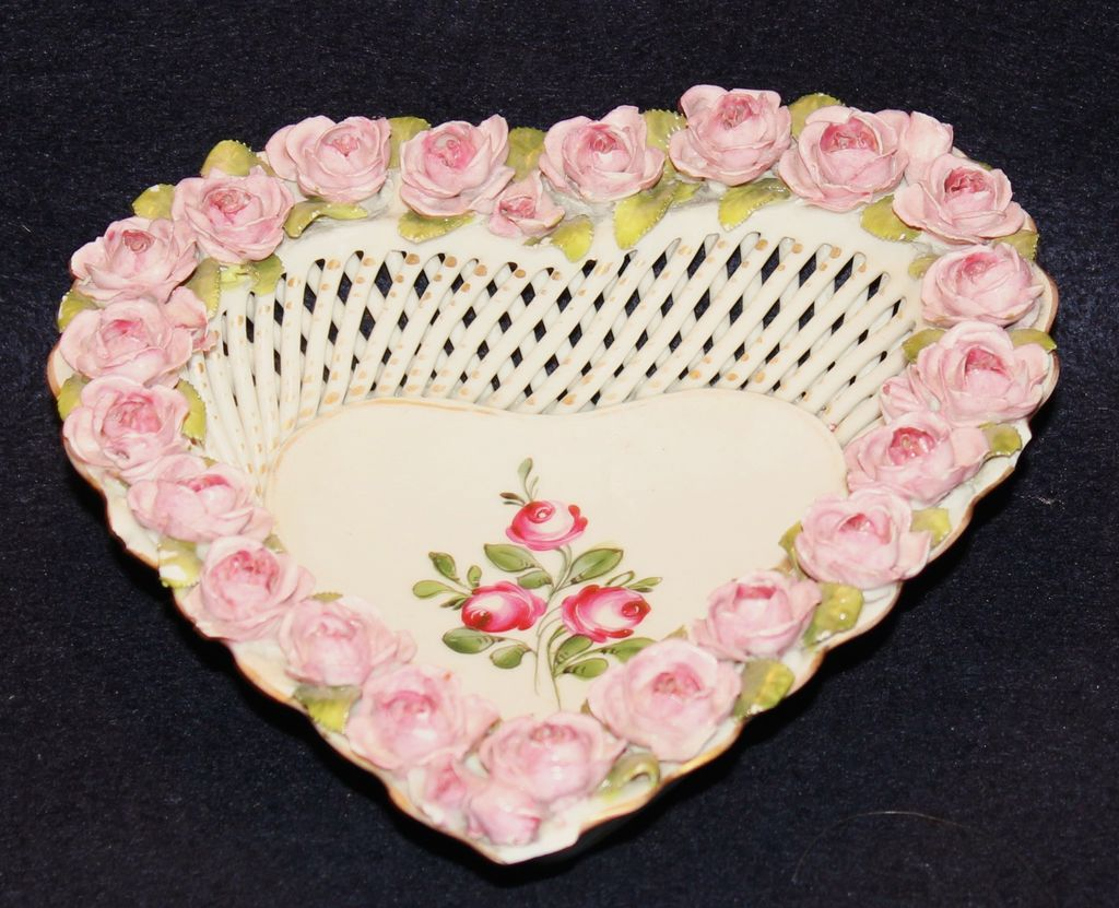 Schierholz Dresden Open Work Roses Heart Basket