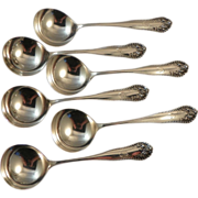 Six Boullion Soup Spoons.  Gorham Lancaster Sterling