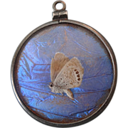 Victorian Genuine Butterfly Wing Double-Sided Pendant Sterling Frame