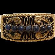 Fantastic Victorian Revival Brass & Lapis Wide Ornate Hinged Bangle Bracelet