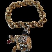 Wonderful Vintage NAPIER Jeweled Elephant Charm Bracelet