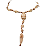 Wonderful Max Neiger Egyptian Revival Scarab Mummy Glass Bead Necklace