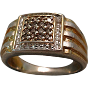 Wonderful Sterling & Vermeil Gentleman's Ring With Clear & Chocolate Diamonds