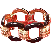 Ciner Vintage Bracelet with Enameling and Ice Rhinestones *** New Old Stock***
