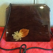 Vintage Italian Lucite Purse with Pressed Foliage