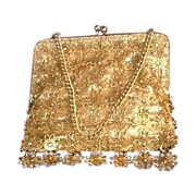 VIntage Handmade Gold Lame Evening Purse be Delill