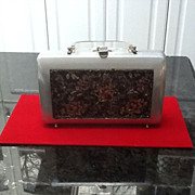 Vintage Aluminum/ Tapestry/Lucite Handbag with Beading