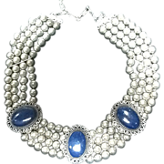 VIntage Sancrest Wide Collar Necklace with Beads and Medallions