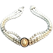 Fabulous Grosse Faux Pearl Choker with Crystals