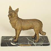 French bronze police dog