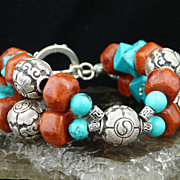 Very Happy - Healing Turquoise and Coral Sterling Silver Bracelet