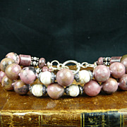 Double Strand Rhodonite,  Conch Shell  and Sterling Silver Bracelet