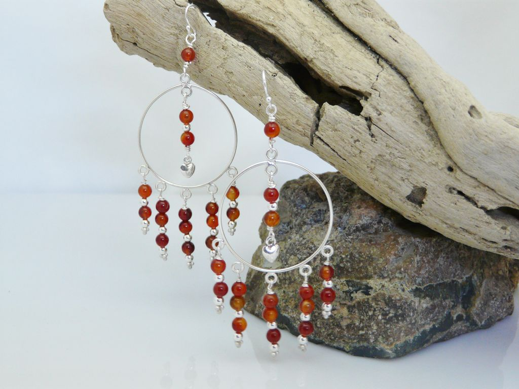 Long Carnelian and Sterling Silver Earrings With Heart Charms