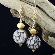 Conch Shell Mosaic, Cloisonne, and 14 Kt Gold Filled Earrings