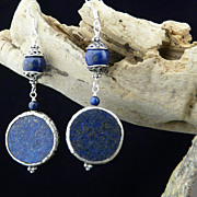 Handmade Nepalese Natural Lapis and Sterling Silver Earrings
