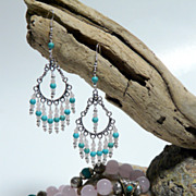 Rose Quartz ,Sterling Silver and Turquoise Chandelier Earrings