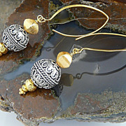 Handmade Two-Toned Bali Sterling Silver and Thai 18kt Gold Vermeil Earrings