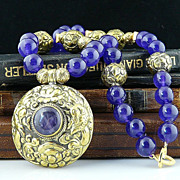Glorious Handmade Amethyst, Hand Chased Solid Brass and Vermeil Necklace With Double Chased Nepalese Forest Pendant