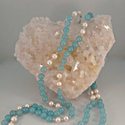 Long Rope of Aquamarine, Cultured Pearl and Sterling Silver Necklace