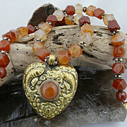 Handmade Natural Multi Color Carnelian Necklace and Heart Pendant