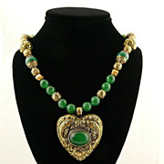 Handmade Asian Inspired Necklace with Chinese Jade, Solid Brass and Chased Heart Pendant