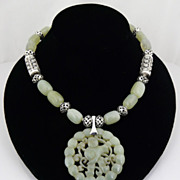 Artisan Celadon Jade and Sterling Silver Necklace With Pendant