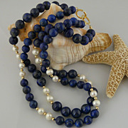 Beautiful and Classic Double Strand Lapis, Cultured Pearl, and 14Kt Gold-Filled Beaded Necklace