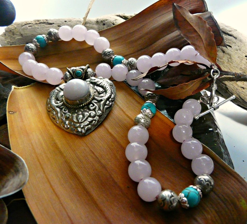 Rose Quartz and  Sterling Silver with Turquoise Necklace