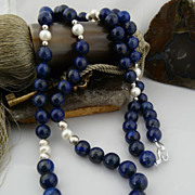 Natural Lapis, Cultured Pearl, and Sterling Silver Rope Necklace