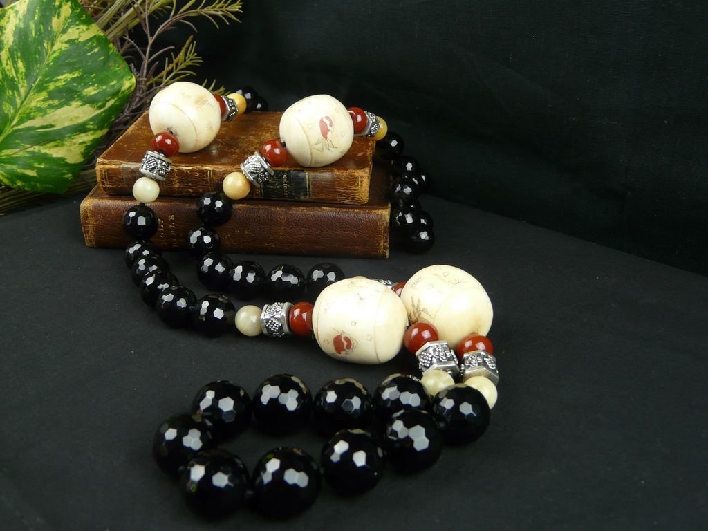 Large, Asian,  Faceted Onyx, Sterling Silver, and Hand-Painted Bone Necklace