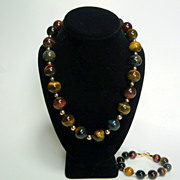 Unusually Beautiful Rainbow Tiger Eye and 14kt Gold-Filled Bead Necklace