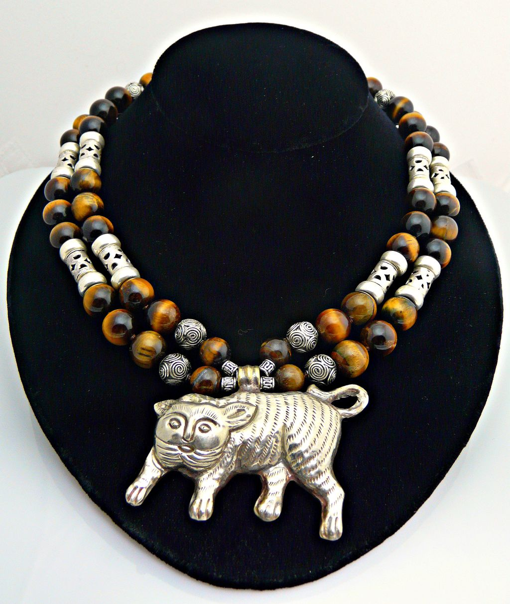 Artisan Handmade Adorable Cat Tiger Eye and Sterling Silver Necklace with Smiling Cat/ Tiger Pendant
